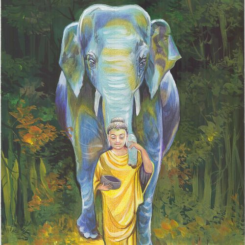 the fond companion, 17 x 23 inch, anushka jain,17x23inch,canson paper,buddha paintings,wildlife paintings,paintings for dining room,paintings for living room,paintings for office,paintings for dining room,paintings for living room,paintings for office,mixed media,pencil color,poster color,GAL01496425614,elephant,peace,lordbuddha,