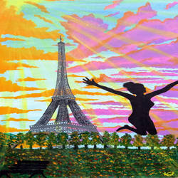evening joy at eiffel tower, 18 x 30 inch, komal meena,18x30inch,canvas,paintings,figurative paintings,cityscape paintings,nature paintings,abstract expressionism paintings,art deco paintings,expressionism paintings,paintings for dining room,paintings for living room,paintings for bedroom,paintings for office,paintings for hotel,acrylic color,GAL01440625634