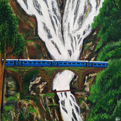 waterfall, 30 x 18 inch, komal meena,30x18inch,canvas,paintings,landscape paintings,nature paintings,realistic paintings,paintings for dining room,paintings for living room,paintings for bedroom,paintings for office,paintings for hospital,acrylic color,GAL01440625635