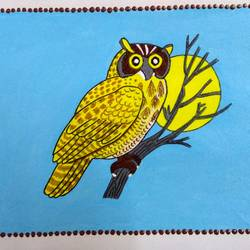 owl, 11 x 7 inch, geeta kwatra,11x7inch,handmade paper,paintings,abstract paintings,wildlife paintings,nature paintings,animal paintings,paintings for kids room,paintings for hotel,mixed media,GAL0899125640