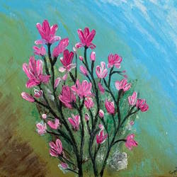 pink flowers, 12 x 12 inch, gayathiri  guliani,12x12inch,canvas,paintings,flower paintings,nature paintings,paintings for dining room,paintings for living room,paintings for bedroom,paintings for office,paintings for bathroom,paintings for kids room,paintings for hotel,acrylic color,GAL01450225647
