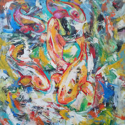 fishhhhh, 35 x 45 inch, prasanta acharjee,35x45inch,canvas,paintings,abstract paintings,wildlife paintings,modern art paintings,conceptual paintings,nature paintings,paintings for dining room,paintings for office,paintings for kids room,paintings for hotel,acrylic color,GAL0360525650