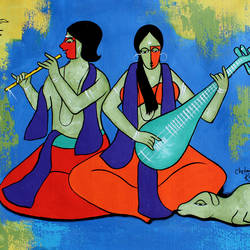 blissful music, 49 x 22 inch, chetan katigar,49x22inch,canvas,paintings,abstract paintings,figurative paintings,cityscape paintings,modern art paintings,multi piece paintings,religious paintings,still life paintings,nature paintings,abstract expressionism paintings,art deco paintings,expressionism paintings,impressionist paintings,radha krishna paintings,contemporary paintings,love paintings,kalamkari painting,paintings for dining room,paintings for living room,paintings for bedroom,paintings for office,acrylic color,GAL026625653,beautiful,music,instruments,krishna,Lord krishna,krushna,radha krushna,flute,peacock feather,melody,peace,religious,god,love,romance