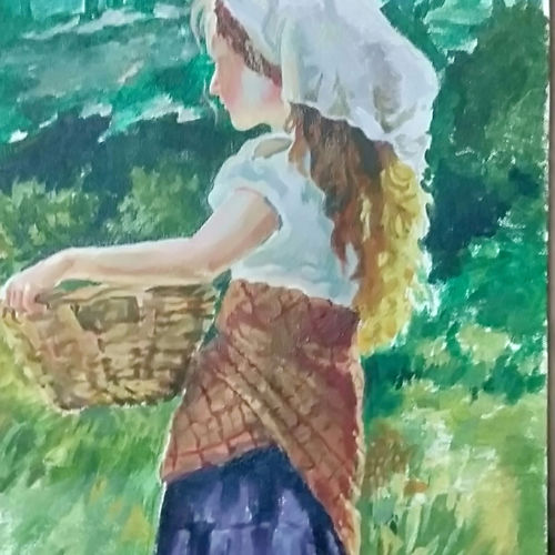 village lady, 12 x 24 inch, venkatesh krishna,12x24inch,canvas,paintings,figurative paintings,illustration paintings,oil color,GAL01336525664