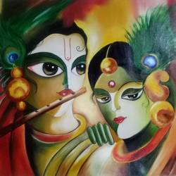 radhekrishna, 28 x 21 inch, apeksha agrawal,28x21inch,oil sheet,figurative paintings,oil color,GAL01501125673
