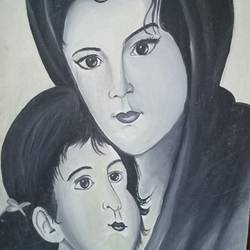 mothers love, 21 x 28 inch, apeksha agrawal,21x28inch,canvas board,figurative paintings,paintings for dining room,paintings for living room,paintings for office,paintings for hospital,paintings for dining room,paintings for living room,paintings for office,paintings for hospital,oil color,GAL01501125679