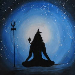 lord shiva, 14 x 18 inch, prashant apte,modern art paintings,paintings for living room,lord shiva paintings,canvas,acrylic color,14x18inch,GAL010272568