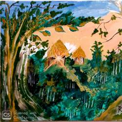 hut in a dense forest, 16 x 20 inch, rita dash,16x20inch,canvas,paintings,expressionism paintings,paintings for living room,paintings for office,paintings for school,paintings for hospital,acrylic color,GAL01382125680