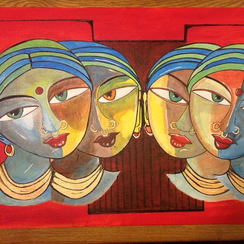 smoke & mirrors- tribal art, 22 x 15 inch, renu thomas,22x15inch,canvas board,paintings,abstract paintings,figurative paintings,folk art paintings,modern art paintings,paintings for dining room,paintings for living room,paintings for bedroom,paintings for hotel,paintings for hospital,acrylic color,pen color,GAL01200325684