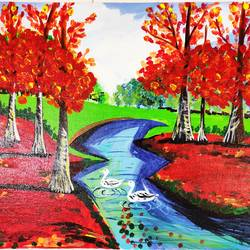 nature painting, 24 x 18 inch, vimal drall,24x18inch,canvas,paintings,nature paintings,paintings for dining room,paintings for living room,paintings for bedroom,paintings for hotel,paintings for school,acrylic color,GAL01417725691