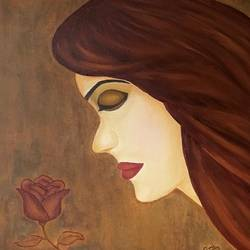 two roses, 24 x 18 inch, simmi gupta,24x18inch,canvas,paintings,figurative paintings,paintings for living room,oil color,GAL01502825692