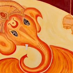 ganesha and bells, 22 x 15 inch, simmi gupta,22x15inch,canvas,ganesha paintings,paintings for dining room,paintings for living room,paintings for office,paintings for dining room,paintings for living room,paintings for office,oil color,GAL01502825695,ganpati bappa morya,ganesh chaturthi,ganesh murti,elephant god,religious,lord ganesh,ganesha,om,hindu god,shiv parvati, putra,bhakti,blessings,aashirwad,pooja,puja,aarti,ekdant,vakratunda,lambodara,bhalchandra,gajanan,vinayak,prathamesh,vignesh,heramba,siddhivinayak,mahaganpati,omkar,mushak,mouse,ladoo,modak,shlok