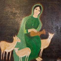 deer love, 20 x 20 inch, simmi gupta,20x20inch,canvas,paintings,figurative paintings,paintings for dining room,paintings for living room,paintings for bedroom,paintings for kids room,oil color,GAL01502825696