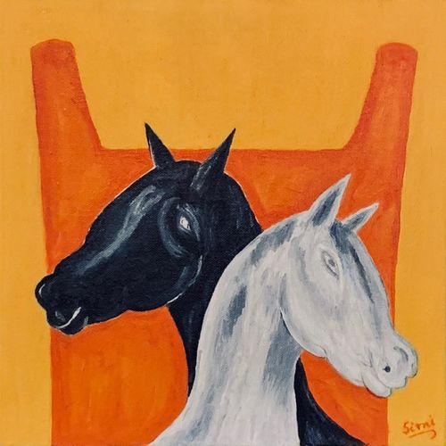 stallions, 12 x 12 inch, simmi gupta,12x12inch,canvas,paintings,horse paintings,paintings for dining room,paintings for living room,paintings for office,oil color,GAL01502825697