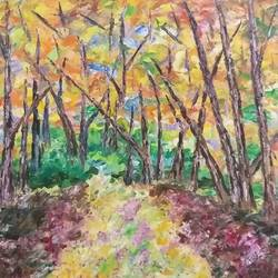 way in woods, 30 x 30 inch, kamlesh  purohit ,30x30inch,canvas,paintings,landscape paintings,nature paintings,paintings for dining room,paintings for living room,paintings for bedroom,paintings for office,paintings for kids room,paintings for hotel,paintings for kitchen,paintings for school,paintings for hospital,acrylic color,GAL01468725698