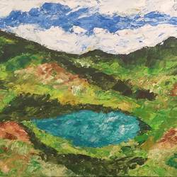 lake in vellay, 30 x 12 inch, kamlesh  purohit ,30x12inch,canvas,paintings,landscape paintings,nature paintings,paintings for dining room,paintings for living room,paintings for bedroom,paintings for office,paintings for kids room,paintings for hotel,paintings for kitchen,paintings for school,paintings for hospital,acrylic color,GAL01468725699