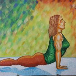bhujangasana, 36 x 24 inch, kamlesh  purohit ,36x24inch,canvas,paintings,figurative paintings,paintings for dining room,paintings for living room,paintings for bedroom,paintings for office,paintings for kids room,paintings for hotel,paintings for school,paintings for hospital,acrylic color,GAL01468725700