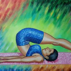 halasana, 36 x 24 inch, kamlesh  purohit ,36x24inch,canvas,paintings,figurative paintings,paintings for dining room,paintings for living room,paintings for bedroom,paintings for office,paintings for kids room,paintings for hotel,paintings for kitchen,paintings for school,paintings for hospital,acrylic color,GAL01468725703