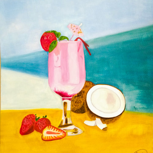 summer hits , 8 x 12 inch, aarti jadli,8x12inch,canson paper,still life paintings,paintings for dining room,paintings for kitchen,paintings for dining room,paintings for kitchen,watercolor,paper,GAL01247425704