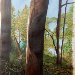 sunrise in woods, 14 x 18 inch, prashant apte,wildlife paintings,paintings for dining room,nature paintings,love paintings,canvas,acrylic color,14x18inch,GAL010272571Nature,environment,Beauty,scenery,greenery