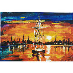 sunset in venice, 23 x 16 inch, priyanshu sharma,23x16inch,canvas,paintings,abstract paintings,landscape paintings,nature paintings,art deco paintings,paintings for dining room,paintings for living room,paintings for bedroom,paintings for office,paintings for hotel,paintings for hospital,acrylic color,GAL0973625712,trees,water,beautiful,boats,ships,sun