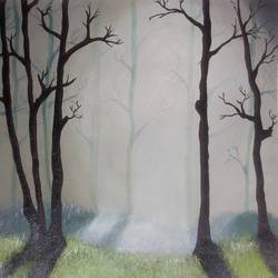 nature mist n sound, 18 x 14 inch, prashant apte,landscape paintings,paintings for bedroom,nature paintings,canvas,acrylic color,18x14inch,GAL010272572Nature,environment,Beauty,scenery,greenery,trees,mist,beautiful,fog