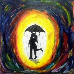 kiss in the rain, 24 x 24 inch, komal meena,24x24inch,canvas,paintings,abstract paintings,figurative paintings,modern art paintings,conceptual paintings,abstract expressionism paintings,art deco paintings,expressionism paintings,contemporary paintings,love paintings,paintings for bedroom,paintings for bathroom,paintings for hotel,oil color,GAL01440625726