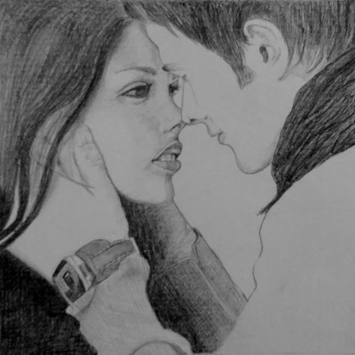 love couple, 5 x 5 inch, puja nag,fine art drawings,paintings for office,figurative drawings,paper,pencil color,5x5inch,GAL09192574