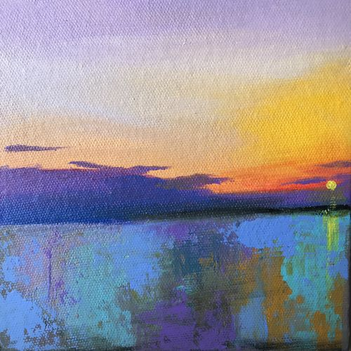 summer evening !! miniature painting , 6 x 6 inch, amita dand,6x6inch,canvas,abstract paintings,nature paintings,paintings for living room,paintings for office,paintings for hotel,paintings for living room,paintings for office,paintings for hotel,acrylic color,GAL0146725747