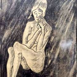 poverty, 17 x 11 inch, rita dash,17x11inch,rice paper,paintings,expressionism paintings,paintings for dining room,paintings for living room,paintings for hotel,paintings for school,charcoal,GAL01382125749