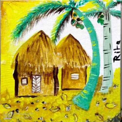 village scene, 9 x 9 inch, rita dash,9x9inch,canvas,paintings,conceptual paintings,paintings for living room,paintings for hotel,paintings for school,paintings for hospital,acrylic color,GAL01382125750