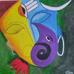 shiva-parvati-ganesha, 17 x 17 inch, s.vittal rao                                                                                                                                                             rao,17x17inch,thick paper,paintings,religious paintings,nature paintings,acrylic color,paper,GAL01440925761
