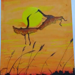 birds flying, 10 x 13 inch, s.vittal rao                                                                                                                                                             rao,10x13inch,thick paper,paintings,nature paintings,acrylic color,paper,GAL01440925762