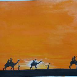 desert scene, 15 x 12 inch, s.vittal rao                                                                                                                                                             rao,15x12inch,thick paper,paintings,landscape paintings,acrylic color,paper,GAL01440925763