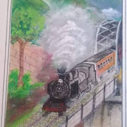 train, 12 x 17 inch, s.vittal rao                                                                                                                                                             rao,12x17inch,thick paper,paintings,conceptual paintings,acrylic color,GAL01440925764