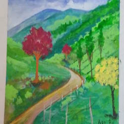 hill side road, 11 x 15 inch, s.vittal rao                                                                                                                                                             rao,11x15inch,thick paper,paintings,landscape paintings,acrylic color,paper,GAL01440925766