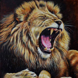 roar, 18 x 24 inch, debojyoti boruah,18x24inch,canvas board,paintings,wildlife paintings,realism paintings,animal paintings,paintings for dining room,paintings for living room,paintings for bedroom,paintings for office,paintings for bathroom,paintings for hotel,paintings for kitchen,acrylic color,GAL01261425776