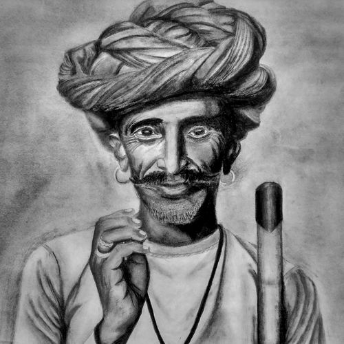 old village man, 8 x 11 inch, paras  malik ,8x11inch,canvas,drawings,portrait drawings,paintings for dining room,paintings for living room,paintings for bedroom,paintings for hotel,pencil color,GAL01506625782