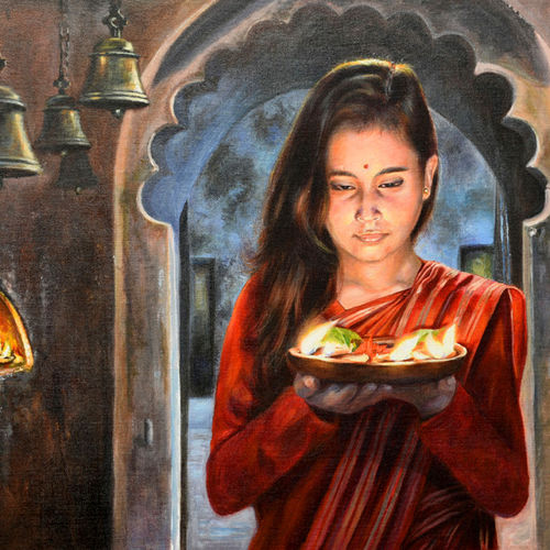 prayer - ii, 30 x 20 inch, debojyoti boruah,30x20inch,canvas board,paintings,figurative paintings,religious paintings,portrait paintings,photorealism paintings,photorealism,portraiture,realism paintings,realistic paintings,paintings for dining room,paintings for living room,paintings for bedroom,paintings for office,paintings for bathroom,paintings for kids room,paintings for hotel,paintings for kitchen,paintings for school,paintings for hospital,acrylic color,GAL01261425799