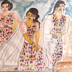beauty contest for miss india, 18 x 28 inch, rita dash,18x28inch,rice paper,paintings,expressionism paintings,paintings for living room,paintings for hotel,watercolor,GAL01382125804