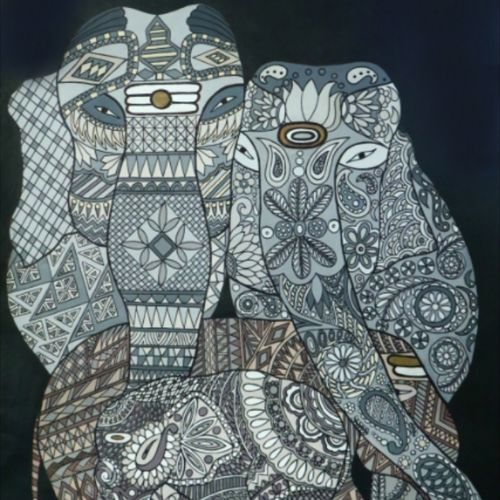 complete family, 39 x 46 inch, savita  bhagat,39x46inch,canvas,wildlife paintings,paintings for living room,paintings for living room,acrylic color,GAL01512025809