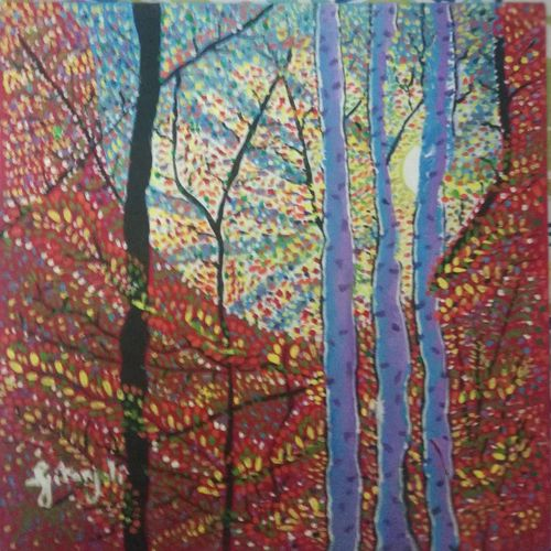 birch forest, 12 x 12 inch, gitanjali karki,12x12inch,canvas,paintings,modern art paintings,paintings for living room,paintings for hospital,paintings for living room,acrylic color,GAL01513025858