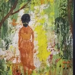 women in woods, 9 x 12 inch, urvashi verma,9x12inch,canvas,paintings,abstract paintings,paintings for dining room,paintings for living room,paintings for bedroom,paintings for dining room,paintings for living room,paintings for bedroom,acrylic color,GAL01503925863
