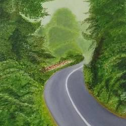 the woods, 16 x 20 inch, urvashi verma,16x20inch,canvas,paintings,landscape paintings,nature paintings,realistic paintings,paintings for living room,paintings for bedroom,paintings for living room,paintings for bedroom,oil color,GAL01503925864