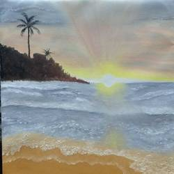 the sunset at beach, 18 x 22 inch, urvashi verma,18x22inch,canvas,paintings,landscape paintings,paintings for dining room,paintings for living room,paintings for dining room,paintings for living room,oil color,GAL01503925866