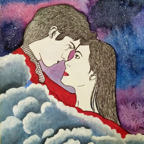 divine love, 12 x 17 inch, aarti jadli,12x17inch,canson paper,paintings,figurative paintings,portraiture,love paintings,paintings for living room,paintings for bedroom,ink color,pen color,watercolor,paper,GAL01247425867