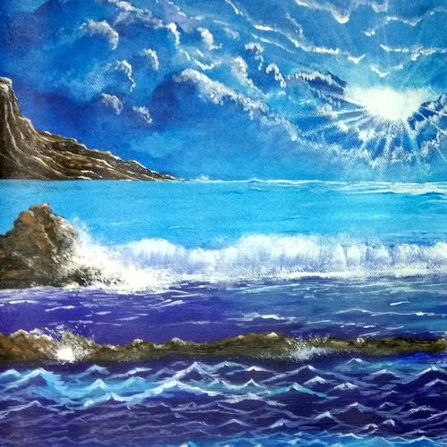 blue, 18 x 16 inch, manika sharma,landscape paintings,paintings for living room,canvas,acrylic color,18x16inch,GAL010222587