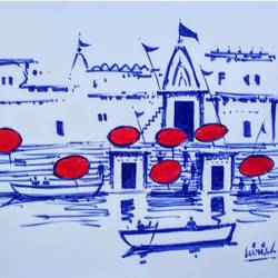 varanasi ghat, 11 x 8 inch, girish chandra vidyaratna,11x8inch,paper,drawings,figurative drawings,fine art drawings,modern drawings,paintings for living room,pen color,GAL03625879