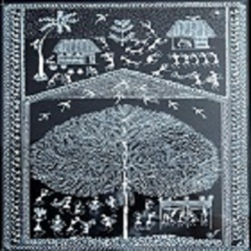 ancient   warli arts holy tree on handmade paper, 11 x 15 inch, harpreet kaur punn,11x15inch,handmade paper,paintings,figurative paintings,religious paintings,paintings for dining room,paintings for living room,paintings for bedroom,paintings for office,acrylic color,paper,GAL0599725883