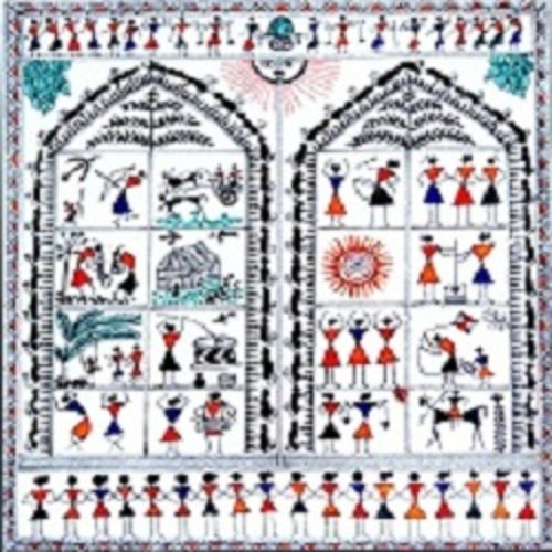 ancient   warli arts  on handmade paper, 11 x 12 inch, harpreet kaur punn,11x12inch,handmade paper,paintings,figurative paintings,modern art paintings,warli paintings,paintings for dining room,paintings for living room,paintings for bedroom,paintings for office,acrylic color,paper,GAL0599725884